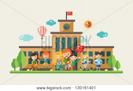 Children activity at school- modern vector flat design website banner, header with kids characters. Active, happy boys and girls with school building at the background
