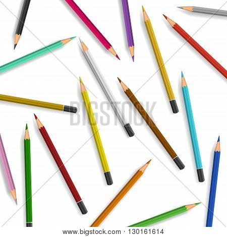 Scattered pencils on white background. Color pencils illustration vector