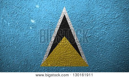 Flag of Saint Lucia painted on cracked paint