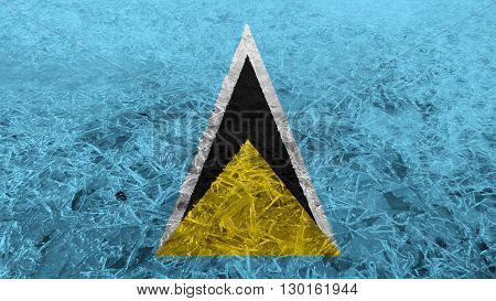 Flag of Saint Lucia painted on ice
