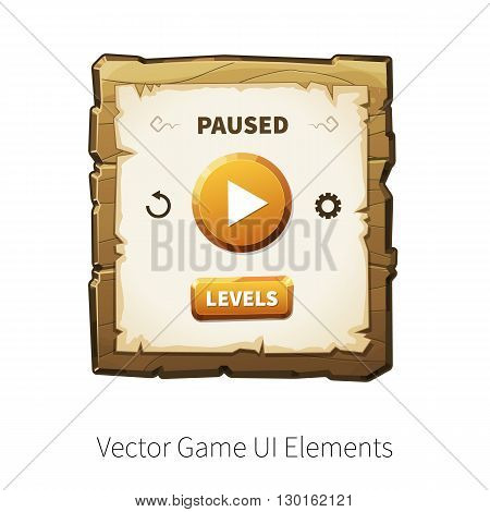 Game pause. Vector graphical user interface (UI GUI) for 2d video games. Wooden menu panels and buttons for menu.