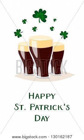 Saint Patricks day vector beer glass. 2016 St. Patricks day. 17 march. Stout dark beer. Clover and shamrock celtic leaves. Irish holiday. Good luck. White background isolated.