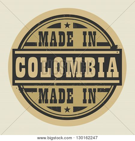 Abstract stamp or label with text Made in Colombia, vector illustration