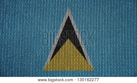 Flag of Saint Lucia painted on stitch