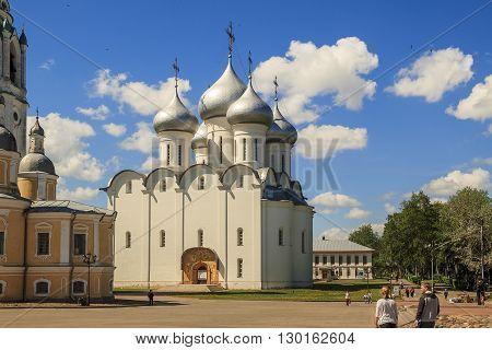 Vologda, Russia - May 27: It is the ancient St. Sophia Cathedral built in the 16th century by order of the Russian Tsar Ivan the Terrible May 27, 2013 in Vologda, Russia.