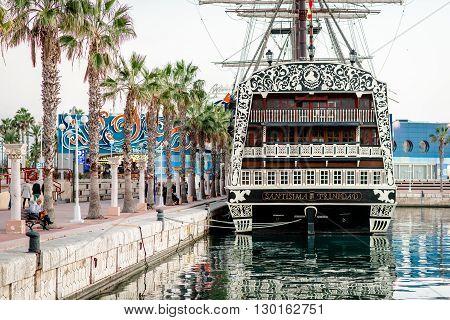 Alicante Spain- February 24 2016: Ship