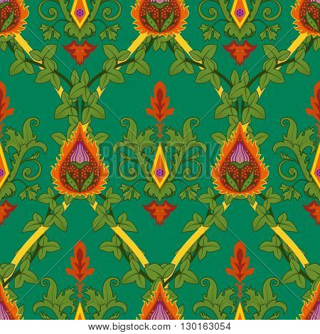 Vintage variegated seamless pattern ivy and fire flower. Vector illustration