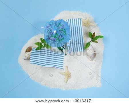 Travel vacation concept - sand island beach with sunbeds