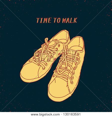 line art hand drawn shoes, conceptual sign or illustration