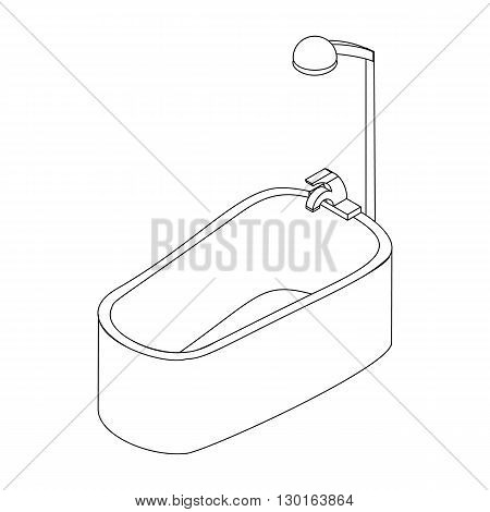 Bathroom shower icon in isometric 3d style isolated on white background