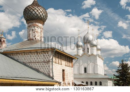 Rostov the Great in spring view to the kremlin Odigitria Church The Church Of the Resurrection . The Golden Ring of Russia