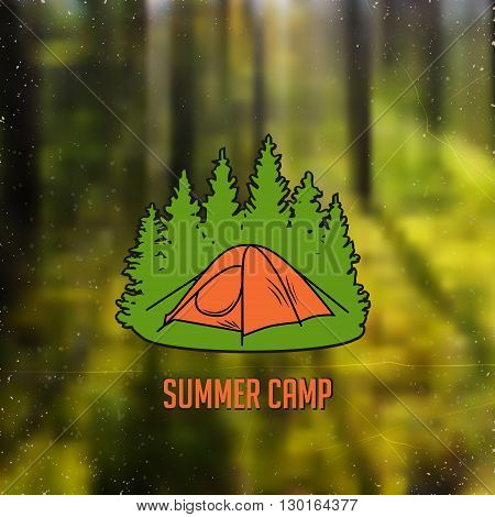 stylized line art sign with small tent in the woods