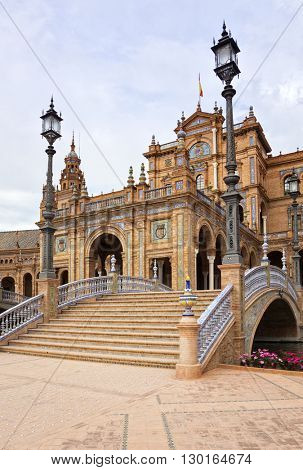 Central building of pavillion at Plaza de Espana, Seville, view over a bridge