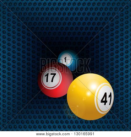 Three 3D Bingo Balls Rolling Out From Metallic Honeycomb Tunnel