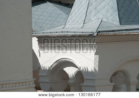 Rostov the Great in spring the kremlin Krasnye palaty (the Red house) fragment. The Golden Ring of Russia