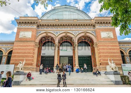 MADRID,SPAIN - APRIL 24,2016 - Entrance to Velazquez Palace in Retiro park of Madrid. It was built between 1881 and 1883 for the National Exhibition.