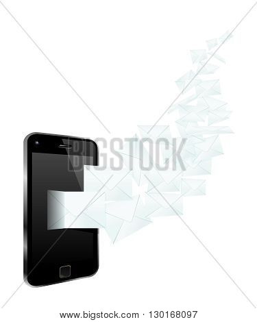 Smartphone Mailing. Conceptual Vector Illustration Of Mailing From A Smartphone