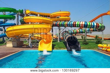 Aquapark sliders, beautiful aqua park, water park.