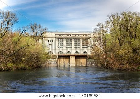 Creppy hydro power plant in forest in Moscow River