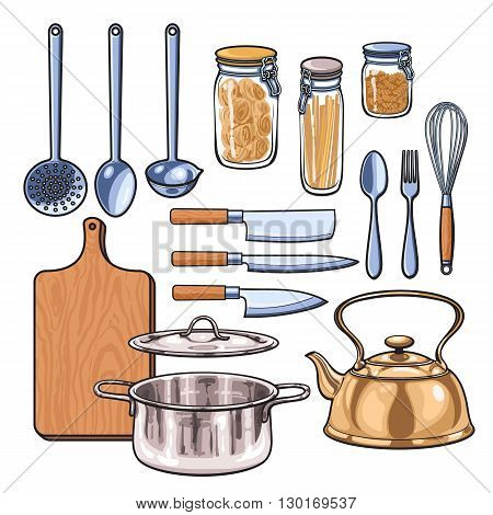 Kitchenware, vector sketch drawn by hand, items in the kitchen kettle ladle knife fork dish pan rifled board of the bank with pasta, Kitchenware in a color sketch style, a wide range of subjects