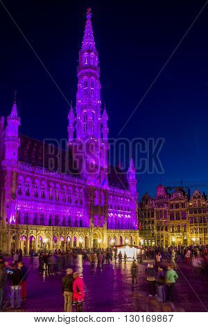 Brussels, Belgium - May 10: This is illumination of the building of the Brussels City Hall which changes color over time May 10, 2013 in Brussels, Belgium.