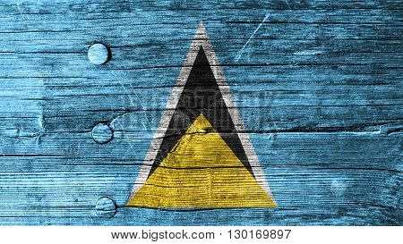 Flag of Saint Lucia painted on wood