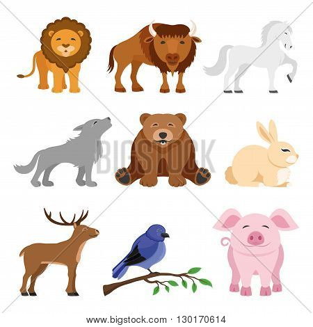 Lion, buffalo, horse, wolf, bear, deer, rabbit, bird and pig.