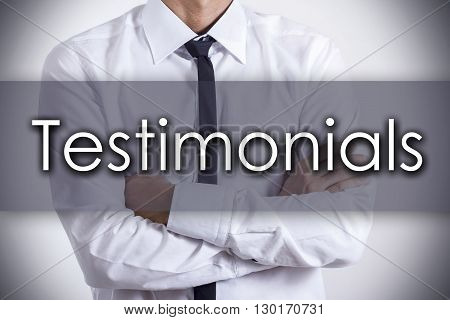 Testimonials - Young Businessman With Text - Business Concept