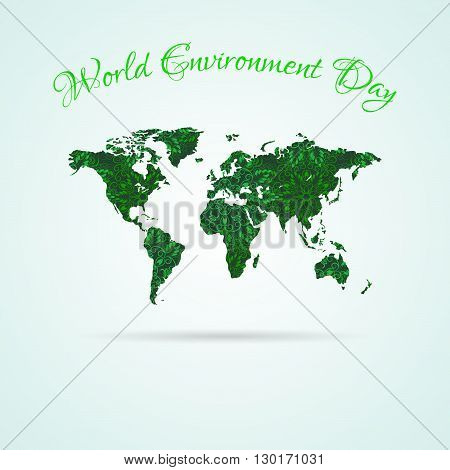 World Environment Day. World map with green flower mandala texture. World Map Icon. Element for Earth Day World Environment Day and other ecology projects. Mandala Pattern in swatches panel.
