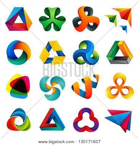 Trendy multicolored logo design element for visual identity application or corporate identity.