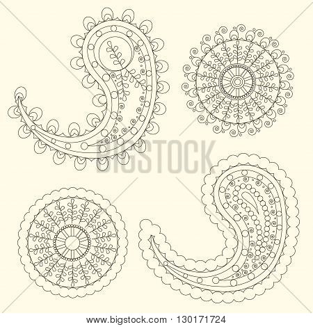 Cute Paisley pattern (Turkish cucumber) for design of fabrics, tableware, wallpaper, isolated, vector