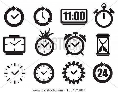 Set of vector illustration of clocks in black and white for time concept isolated on white background.