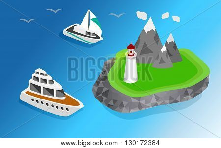Maritime lighthouse on the island isometric style. The ship is sailing to the lighthouse vector isometric illustration