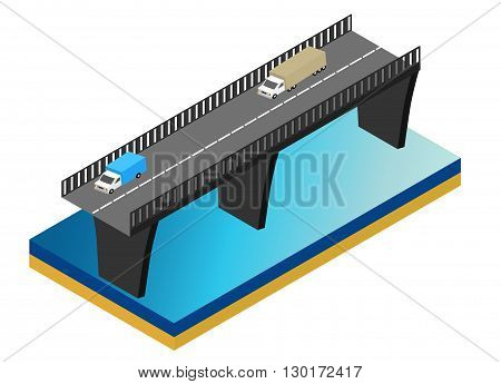 Isometric bridge over the river. Commercial transport. Various types of load and cargo. Logistics. Flat 3d Vector isometric illustration.