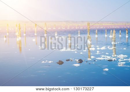 Beautiful salt lake with blue and pink water,  white clouds  and wooden posts, natural landscape amazing background