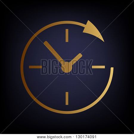 Service and support for customers around the clock and 24 hours. Golden style icon on dark blue background.