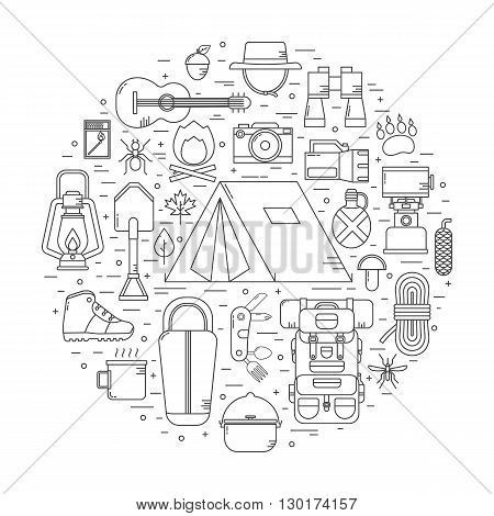 Camping linear vector icons concept. Hiking outdoor elements in thin line design. Camp and hike gear outline collection. Binoculars bowl barbecue boat lantern shoes hat tent appliances.