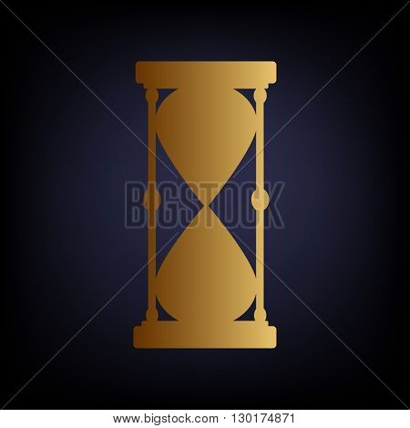 Hourglass sign. Golden style icon on dark blue background.