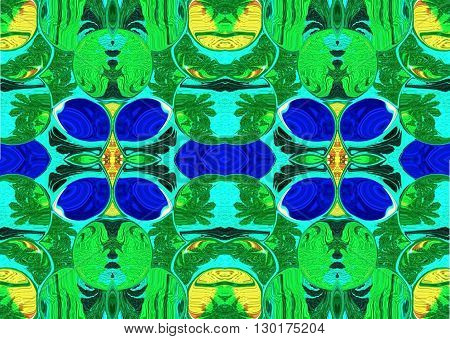 Oriental patterns - the language of the soul The picture shows the oriental patterns mainly blue, green and yellow colors.