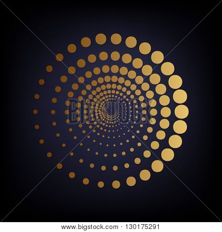 Abstract technology circles sign. Golden style icon on dark blue background.