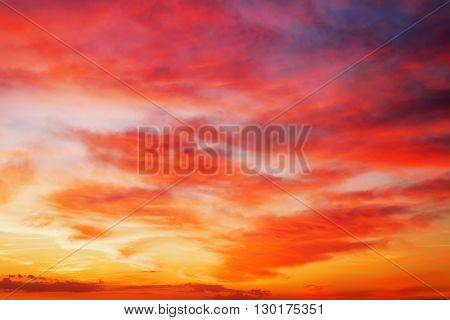 Fiery orange sunset sky. Beautiful sky background.