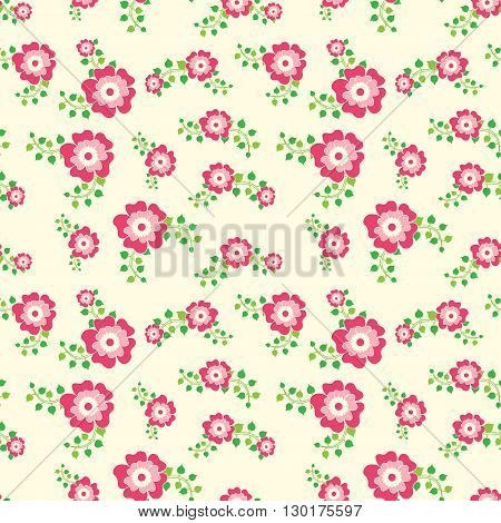 Seamless floral pattern with leafs, in pink colors, background.