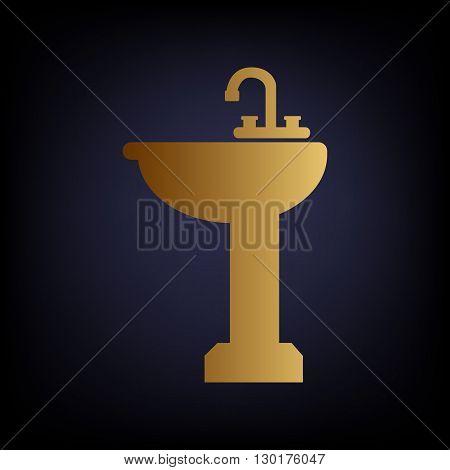 Bathroom sink sign. Golden style icon on dark blue background.