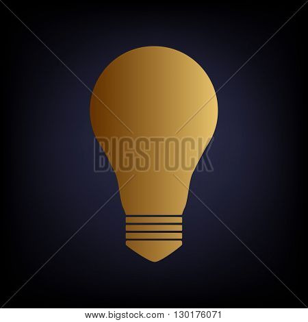 Light lamp sign. Golden style icon on dark blue background.