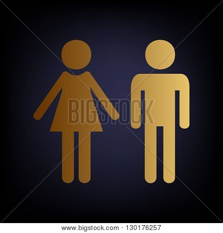 Male and female sign. Golden style icon on dark blue background.