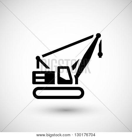 Crawler crane icon isolated on grey. Vector illustration