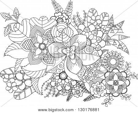 Floral dream catcher for coloring book for adult.