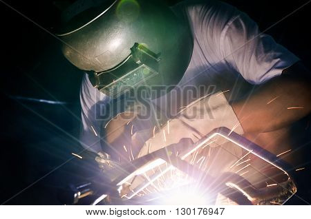 Selective focus and close up of welder working in workshop