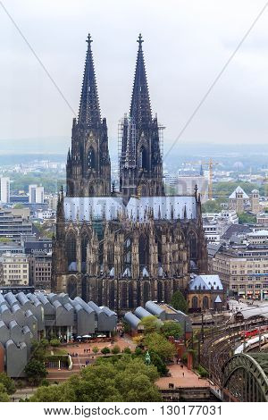 Cologne, Germany - May 17: This is Catholic gothic cathedral in Cologne from the tower Panorama-Turm May 17, 2013 in Cologne, Germany.