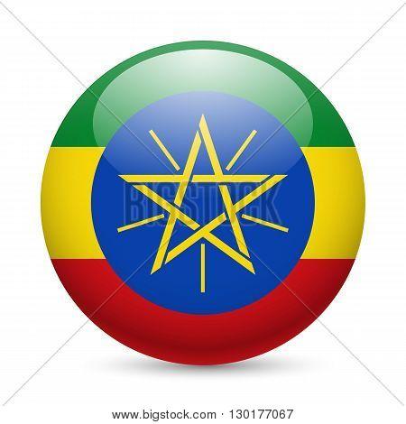 Flag of Ethiopia as round glossy icon. Button with Ethiopian flag